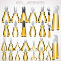 Pliers collection of fastening tools icon icons Stock Photo