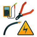 Pliers near electric rope and warning sign set on white