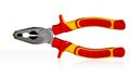 Pliers a pair of silver metal with red and yellow rubber grips isolated on white Stock Photo