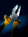 Pliers strong with yellow and black handle Stock Photos