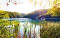 Plitvice lake sunshine Royalty Free Stock Photo