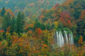 Plitvice lakes of croatia hrvatska national park in autumn the second biggest waterfall the showing off its full power following Royalty Free Stock Image