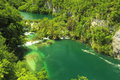 Plitvice lakes seen from aerial view croatia Stock Photography