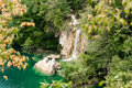 Plitvice lakes with waterfall croatia Royalty Free Stock Images