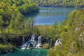 Plitvice lakes waterfalls and boat national park in croatia Stock Photo