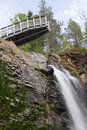 Plodda falls observation platform over near tomich scotland Stock Images