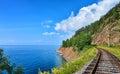 Plot Circum-Baikal railway near steep bank of Lake Baikal Royalty Free Stock Photo