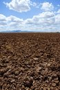 Plough plowed brown clay field blue sky horizon Royalty Free Stock Images