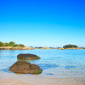 Ploumanach rock and bay beach in morning brittany france ock pink granite coast perros guirec Stock Images