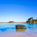 Ploumanach rock and bay beach in morning brittany france ock pink granite coast perros guirec long exposure Stock Photography