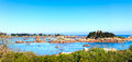 Ploumanach rocks and bay beach in morning brittany france pink granite coast perros guirec Stock Photography