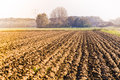 Plowed field and farm on hazy day Royalty Free Stock Images