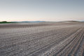 Plowed fields at sunset la rioja spain Stock Image