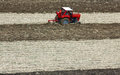 Plowing fields with a tractor after the maize harvest the farmers field as quickly plowed normally it will follow the main parcel Stock Photo