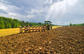 Plowing after a harvest moscow region russia Royalty Free Stock Photos