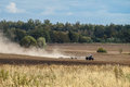 Plowing in the kaluga region of russia ploughing or tillage otvorenim plow when is made by wrapping Royalty Free Stock Photography