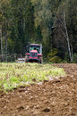 Plowing tractor is an important element of agricultural work ploughing or tillage otvorenim plow when Royalty Free Stock Photos