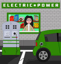 Plug in hybrid car recharging cartoon or drawing of a at an electric station Royalty Free Stock Photo