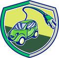 Plug in hybrid electric vehicle retro shield illustration of a with coming out set inside crest done style Royalty Free Stock Image