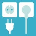 Plug and socket icon on blue background Stock Photo