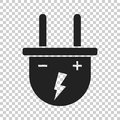 Plug vector icon. Power wire cable flat illustration Royalty Free Stock Photo