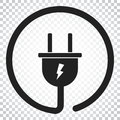 Plug vector icon. Power wire cable flat illustration. Simple bus Royalty Free Stock Photo