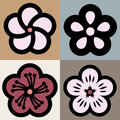 Plum blossom flower pattern symbol Royalty Free Stock Photo