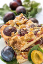 Plum cake portion of on a plate Royalty Free Stock Photo
