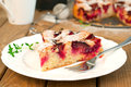 Plum cake slice of fresh with a in the background horizontal Royalty Free Stock Images