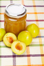 Plum jam and some fresh fruits Royalty Free Stock Photos
