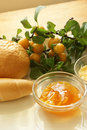 Plum marmelade and some french roll Stock Photography