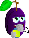 Plum opening a beer can vector style illustrated vector format is available Stock Image