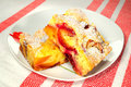 Plum and peach cake delicious Stock Image