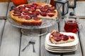 Plum pie in autumn party setting dessert Stock Photos