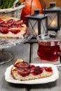 Plum pie in autumn party setting festive dessert Stock Image