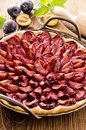 Plum pie in baking form as closeup Royalty Free Stock Photos