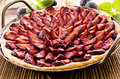 Plum pie in pan as closeup a Royalty Free Stock Photos