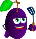 Plum with a spatula vector style illustrated vector format is available Royalty Free Stock Images