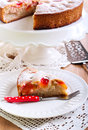 Plum sponge cake with icing sugar on top Stock Photos