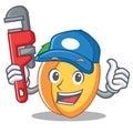Plumber apricot mascot cartoon style