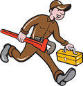 Plumber Carrying Monkey Wrench Toolbox Cartoon