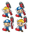 Plumber Character is slung the pipe wrench over his shoulders. Royalty Free Stock Photo