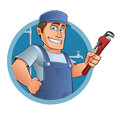 Plumber dressed in clothes of work in a tool in the hand Royalty Free Stock Image