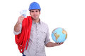 Plumber with a globe Royalty Free Stock Images
