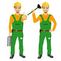 Plumber holding plunger in green uniform holding tool box Royalty Free Stock Photo