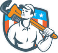 Plumber Holding Wrench USA Flag Retro