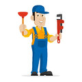 Plumber holds plunger and adjustable spanner illustration format eps Royalty Free Stock Images
