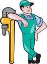 Plumber Leaning Monkey Wrench  Cartoon