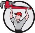 Plumber Lifting Monkey Wrench Circle Cartoon