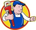 Plumber With Monkey Wrench Cartoon Royalty Free Stock Photography